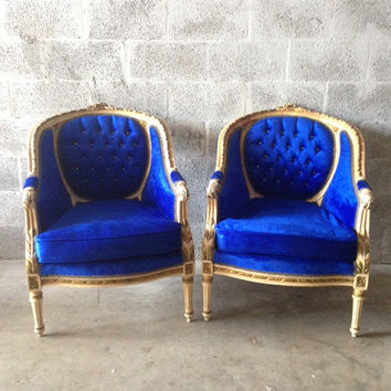 Antique French Louis XVI 2 Available Corbeille Bergeres Fauteuil Chair Tufted Baroque Creme White Frame Gold Leaf Accent Royal Blue Velvet