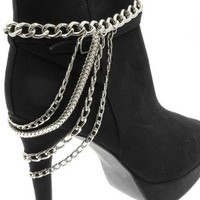 1 Silvertone Multi-Strand 4 Tier Anklet Heel Chain for Boot High Heel Shoe