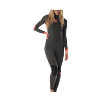 Billabong Synergy 3/2 Flatlock Back Zip Long-Sleeve Steamer Wetsuit - Women's Off Black,