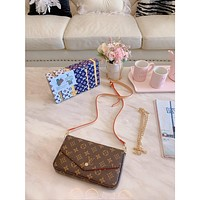 9.2 [NEW] LV original single shoulder bag vuittonFelicie diagonal small bag three-piece + matching box