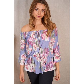 Love In Bloom Lilac Floral Off The Shoulder Top