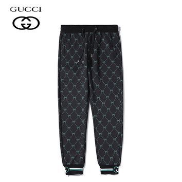 Gucci Simple casual versatile printed ribbed cotton trousers 1#