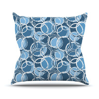 "Julia Grifol ""Simple Circles in Blue"" Throw Pillow"