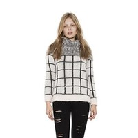 Womens White Grey Combo Laney Mohair Pullover Long Sleeve Sweater By One Grey Day