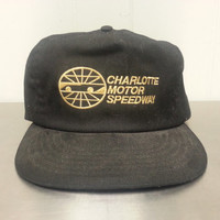 Vintage Union Made Charlotte Motor Speedway Leather Strapback Dad Hat Black Cotton Made In USA NASCAR Car Racing Cap
