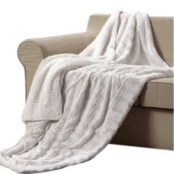 "White-Super Soft- Sherpa / Microplush- High Quality -Throw Blanket- 50""x 60"""
