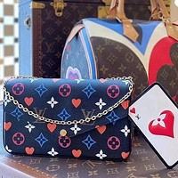 LV Louis Vuitton Colorful Printed Alphabet Mahjong Bag Three-piece Set