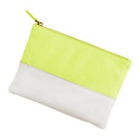 Leather colorblock pouch
