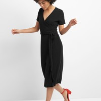 Softspun Midi Wrap Dress in Ribbed | Gap