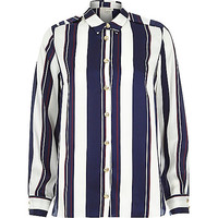 Navy stripe long sleeve shirt - blouses / shirts - tops - women