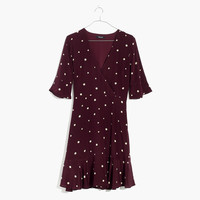 Silk Flutter-Hem Dress in Star Mix : shopmadewell day-to-night dresses | Madewell