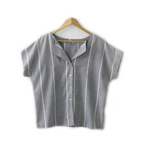 Vintage Unisex Shirt ~ Size Large - Extra Large ~ Minimalist Grey and White Stripe Button Up Tee Blouse for Men and Women ~ By Raffles