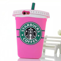 Rose 3D Silicon Starbuck Coffee Cup Case For iPhone 4S 5S 6 6S Plus For Samsung Galaxy S3 S4 S5 S6 S7 edge Note 3 4 5 J5 A5 E5