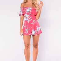 Love So Divine Romper - Hot Pink