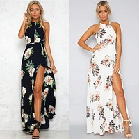 Floral print halter chiffon long dress Women backless maxi dresses white split beach summer dress