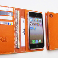 The Best Gift for Valentine day. Personalized iPhone 5, Card Case, ID case & Wallet in Flat, Hermes-Orange  Calfskin. UNIQUE. Handmade