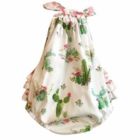 Newborn Clothing Baby Romper Girls Summer Sleeveless Floral Cactus Print Rompers Infant One Piece Trendy Girl Clothes