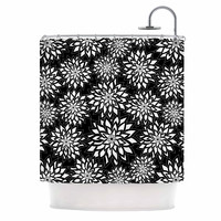 "Julia Grifol ""Black And White Garden"" Digital Vector Shower Curtain"