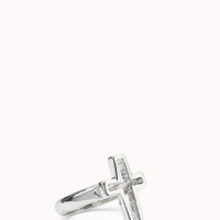 FOREVER 21 Cutout Cross Ring Silver 6
