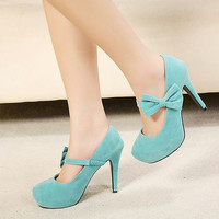 Round head bowknot high heels