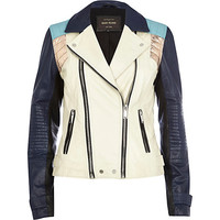 River Island Womens White color block leather biker jacket