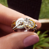 Steampunk ring, stainless steel unisex steampunk ring, watch gear ring, silver, bronze and gold ring, OOAK