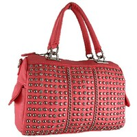 Glamorous Studded and Rhinestone Satchel Bag Fashion Purse Pink