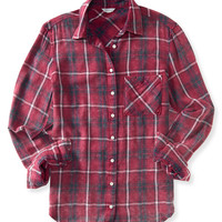 Long Sleeve Acid Wash Plaid Woven Shirt