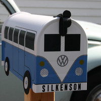 Wildflower Blue Volkswagen Bus Mailbox  - Made to Order - Choose Your Color
