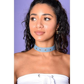 Grommet Deadstock Denim Choker