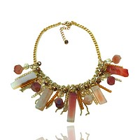 Agate and Crystal Statement Chain Necklace