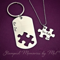 Her One, His Only Dog Tag Puzzle Set - The Original - Hand Stamped Couples Jewelry - Necklace Set - Custom Made - Gift for Couple, Newlyweds