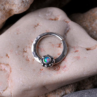 SEPTUM RING / EAR /Cartilage/nose ring 16 Gauge Sterling Silver with 2mm synthetic opal stone. Handcrafted