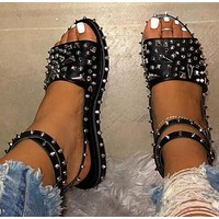Summer new women's shoes plus size women rivet sandals women flat bottom