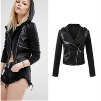 2016 Trending Fashion Knit Leather Hooded Hoodie  Sweater Cardigan Coat Jacket Outerwear _ 10015