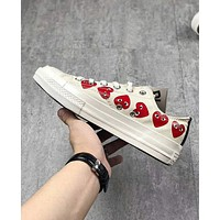 Converse Play Popular Loving Heart Personality Low Top Flat Spor Shoes Sneakers White I-CSXY