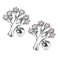 Gemmed Tree 316L Surgical Steel Cartilage/Tragus Barbell 2 Pack