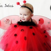 Lady Bug tutu dress red and black dots, with wings, Halloween Costume, birthday tutu, girl, infant, child, toddler 12, 18, 24, 2t, 3t, 4t