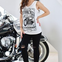 Graphic Print Motorcycle Tank Top