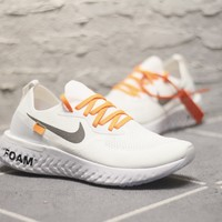 2018 Off white x Nike Epic React Flyknit  Running Sneaker