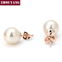 Zhouyang Trendy Gold Plated Pearl Stud Earrings Women Zye240