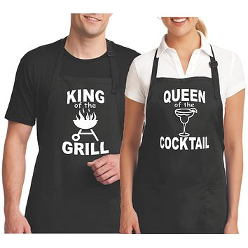Couples Aprons - King of the Grill and Queen of the Cocktail Aprons