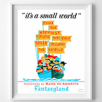 Vintage Disneyland, Poster, Print, It's a Small World, Disney, Fantasyland, Reproduction, Restored, Restoration, Reprint, Vintage [No 1274]