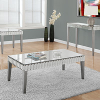 "Coffee Table - 48""X 24"" / Brushed Silver / Mirror"