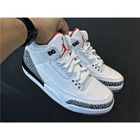 elainse29 NIKE Air Jordan 3 Retro AJ3 white cement blue crystal bottom basketball shoes