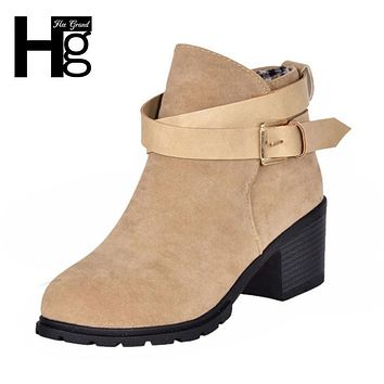 HEE GRAND Winter Fashion Women Boots Thick Heel Platform Shoes Buckle Autumn Winter Boots For Women Riding Ankle Boots XWX627