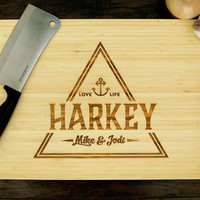 Personalized Cutting Board (Pictured in Natural), approx. 12 x 16 inches, Monogram Triangle, Love Life  - Wedding gift, Anniversary Gift