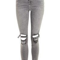 MOTO Grey Ripped Jamie Jeans - Jeans - Clothing