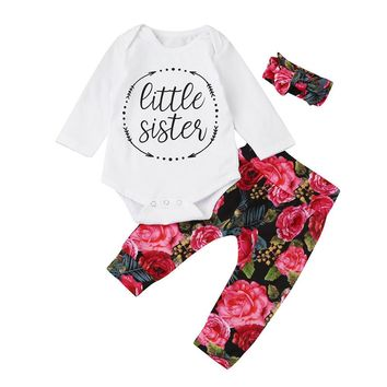 Little Sister White Floral Outfit Set One Piece Bodysuit with Leggings and Headband 6-24 Months