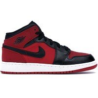 Air Jordan 1 Mid Gym Red Black mid-top casual all-match basketball shoes